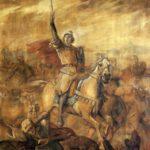 Sant Jordi s'apareix en la batalla d'Alcoraz contra les tropes islàmiques (qualunque 1890)