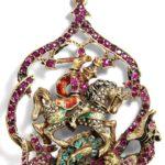 Colgante joya de San Jorge con el dragón (alguna 1880)