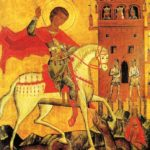Sant Jordi allanceja el dragó en presència de la princesa (any 1500)