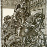 St. George on horseback rescues Princess (any 1508)