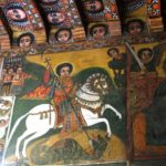 Sant Jordi envoltat d'escenes bíbliques (alguna 1700)