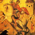 Sant Jordi matant el dragó, amb un xic rescatat a la gropa (qualunque 1600)