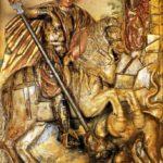 San Jorge a caballo allanceja el dragón (alguna 1596)