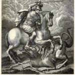 Sant Jordi a cavall brandant la seua espasa sobre el drac (qualunque 1790)