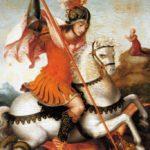 Sant Jordi a cavall, allanceja el dragó (any 1569)