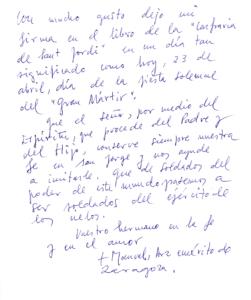 Hon. Sr. Manuel Pastor Urena, Archevêque émérite de Saragosse (23-04-2018)
