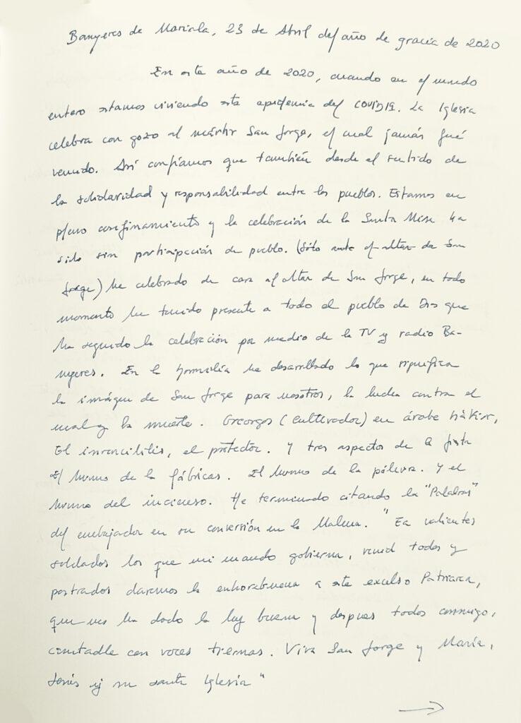 Rdm. Sr. En Ramón Micó Colomer, rector de la parròquia de Sta. María de Banyeres de Mariola (23-04-2020)
